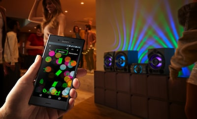 Sony smartphone syncing to speaker system
