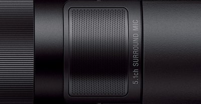 Close-up of Handycam® showing surround mic