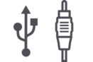 USB and AUX input icons