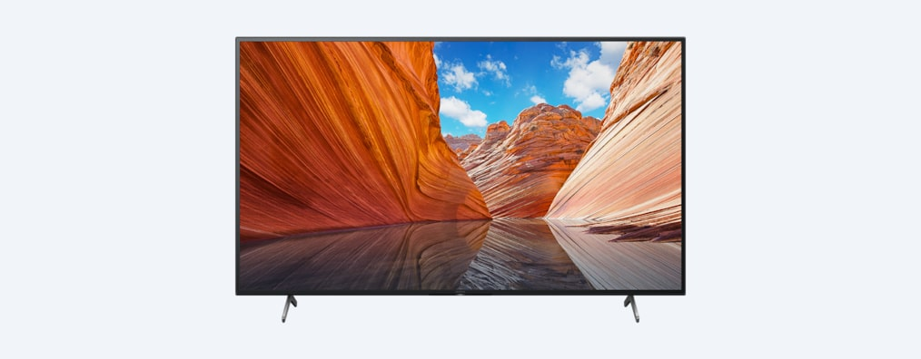 X80J BRAVIA TV front shot with wide stand setting
