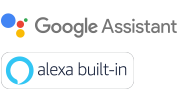 Logótipos de Google Assistant e Alexa built-in