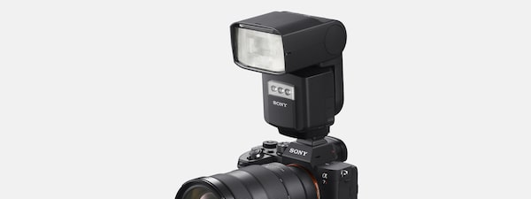 Image of a flash unit mounted on the camera
