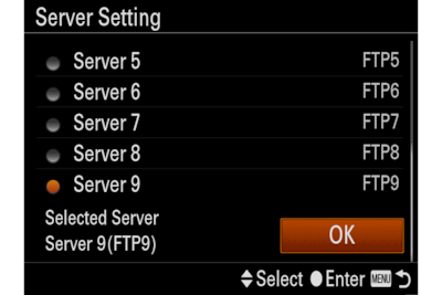 Image of the camera's Server Setting menu screen