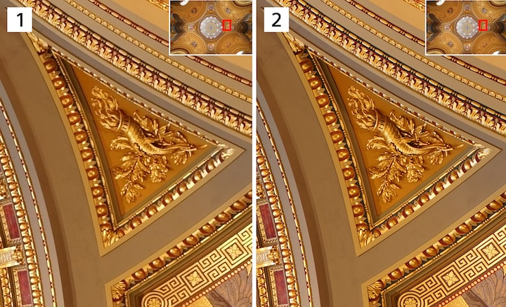 Two images of architectural details comparing a normal image and a composited image made with Pixel Shift Multi Shooting