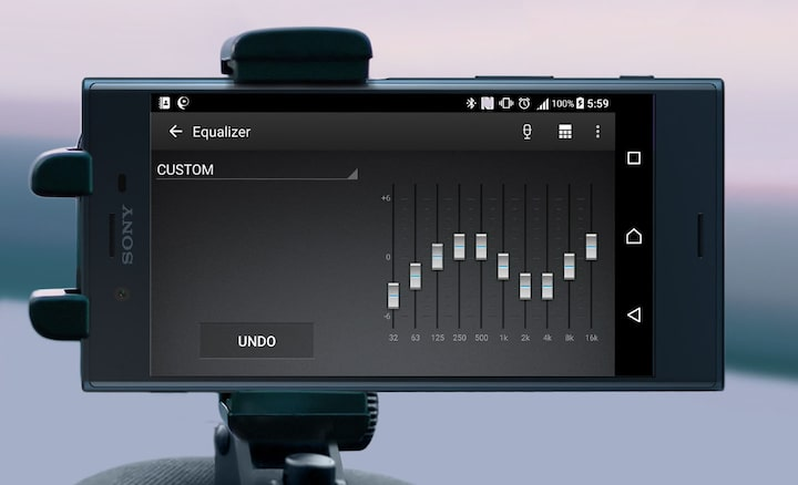 Image of smartphone displaying 10-band digital equaliser
